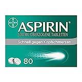 Aspirin 500mg überzogene Tabletten, besonders schnell und effektiv gegen Kopfschmerzen bei guter...